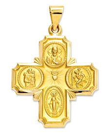 14k Gold Charm, Four-Way Medal
