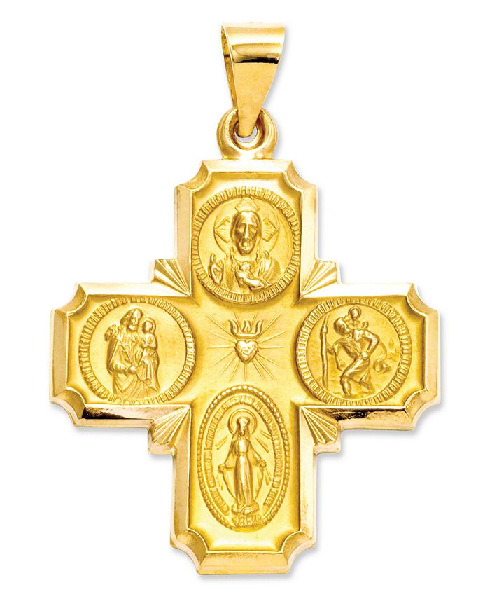 Macy's - 14k Gold Charm, Four-Way Medal