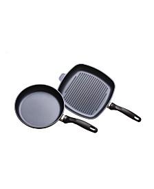 Swiss Diamond HD 2 Piece Set: Fry Pan and Grill Pan