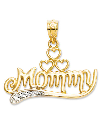 14k Gold and Sterling Silver Charm, Mommy Charm