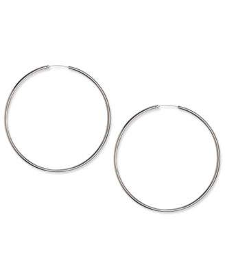 Image of Touch of Silver Earrings, Silver Plated Thin Hoop Earrings