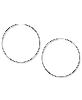 Touch of Silver Earrings Silver Plated Thin Hoop Earrings