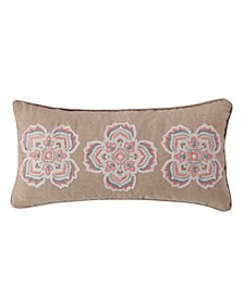 Home Spruce Coral Crewel Medallions Pillow