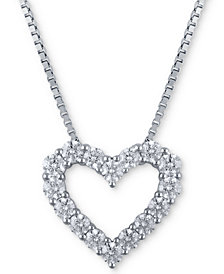 Macy's Star Signature Diamond Heart Pendant Necklace (1-1/2 ct. t.w.) in 14k White Gold