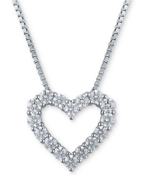 Macy's Star Signature Diamond Macy's Star Signature Certified Diamond Heart Pendant Necklace (1-1/2 ct. t.w.) in 14k White Gold