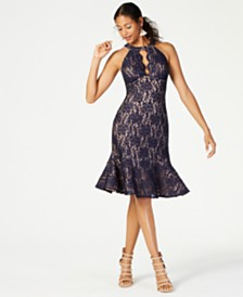 Nightway Halter-Neck Lace Sheath Dress
