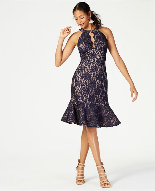 Nightway Halter-Neck Lace Sheath Dress