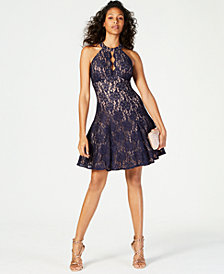 Nightway Halter-Neck Lace Fit & Flare Dress