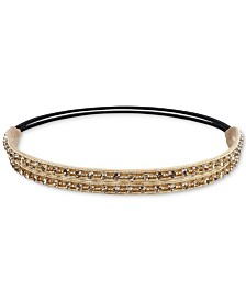 Deepa Gold-Tone Crystal, Bead & Braided Stretch Headband