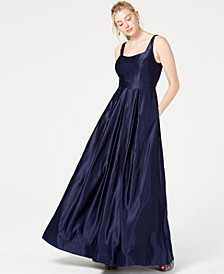 Juniors' Satin Beaded-Back Gown