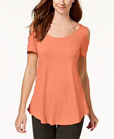JM Collection Cold-Shoulder Swing T-Shirt, Created for Macy's