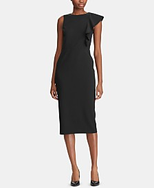 Lauren Ralph Lauren Ruffle-Trim Crepe Dress