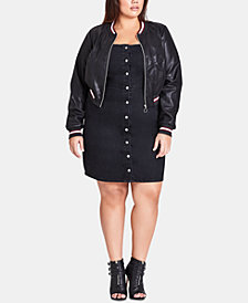 City Chic Trendy Plus Size Faux-Leather Bomber Jacket