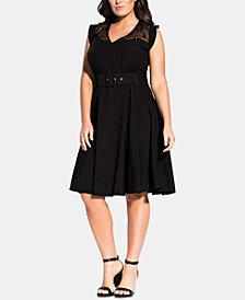City Chic Trendy Plus Size Lace-Yoke Belted Dress