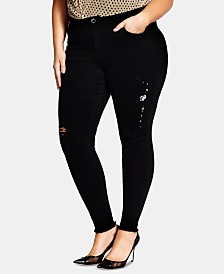 City Chic Trendy Plus Size Embellished Ripped Skinny Jeans