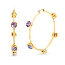 Steve Madden Women's Multi Color Rhinestone Studded Hoop Yellow Gold-Tone Earrings