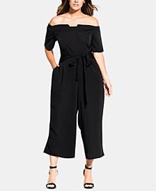 Trendy Plus Size Tie-Waist Jumpsuit