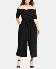 City Chic Trendy Plus Size Tie-Waist Jumpsuit