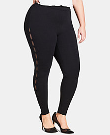 City Chic Trendy Plus Size Mesh-Insert Leggings