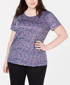 Ideology Plus Size Space-Dyed Keyhole-Back Top, Created for Macy's