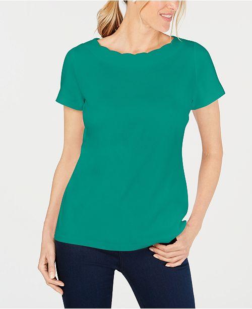 Karen Scott Petite Cotton Scalloped-Neck Top, Created for Macy's