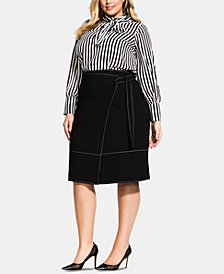 City Chic Trendy Plus Size Topstitched Belted Skirt