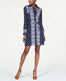MICHAELS Michael Kors Belted Shirtdress, Regular & Petite