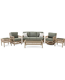 Lavena Outdoor 6-Pc. Seating Set (1 Sofa, 1 Club Chair, 1 Swivel Chair, 1 Coffee Table & 2 End Tables) with Sunbrella® Cushions, Created for Macy's