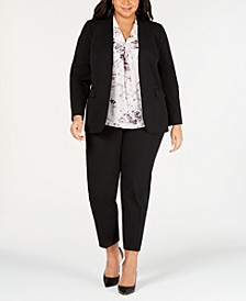 Trendy Plus Size Open-Front Jacket, Printed Blouse & Straight-Leg Pants, Created for Macy's