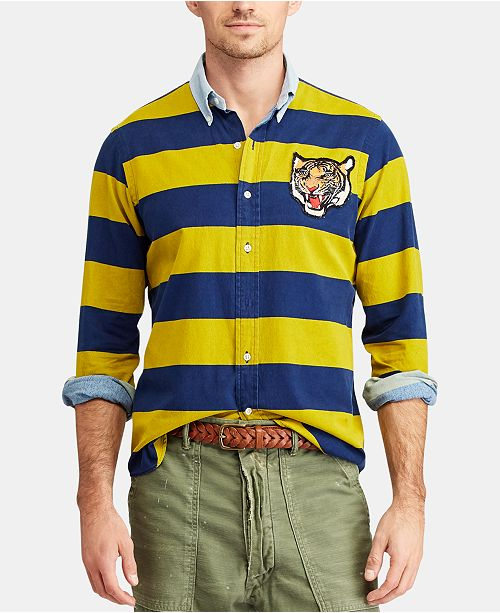 1a27e10b Polo Ralph Lauren Men's Classic-Fit Tiger Patch Shirt & Reviews ...