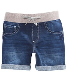 Vanilla Star Big Girls Natalie Knit Denim-Look Shorts