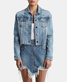 True Religion Rhinestone-Embellished Denim Jacket