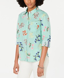 Tommy Hilfiger Cornell Roll-Tab-Sleeve Mixed-Print Shirt, Created for Macy's