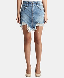 True Religion Rhinestone-Embellished Ripped Skirt