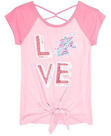 Beautees Big Girls Tie-Front Reversible Sequin Raglan T-Shirt