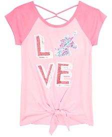Beautees Big Girls Tie-Front Flip Sequin Raglan T-Shirt