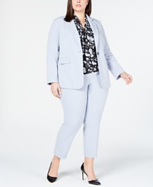Bar III Plus Size One-Button Jacket, Bi-Stretch Pants & Printed Bow Blouse, Created for Macy's