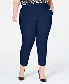 Trendy Plus Size Slim-Leg Ankle Dress Pants, Created for Macy's