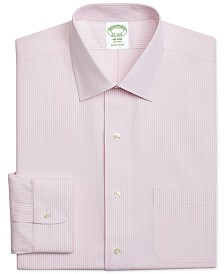 Brooks Brothers Men's Milano Extra-Slim Fit Non-Iron Pink Stripe Dress Shirt