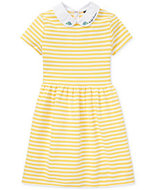 Polo Ralph Lauren Big Girls Ponté-Knit Striped Fit & Flare Dress