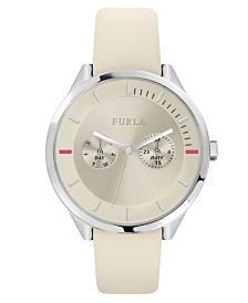 Furla Women's Metropolis Silver Dial Calfskin Leather Watch