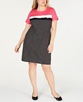 2dd0b3da72bf6d Karen Scott Plus Size Short-Sleeve Striped Dress