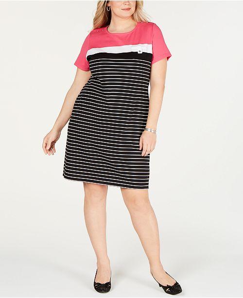 Karen Scott Plus Size Short-Sleeve Striped Dress, Created for Macy\'s ...