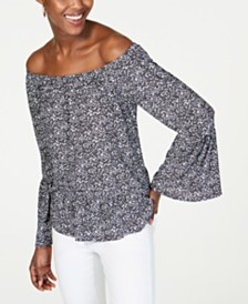 MICHAEL Michael Kors Printed Off-The-Shoulder Top, Regular & Petite