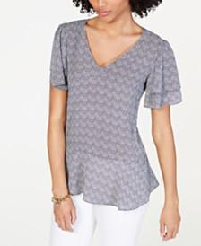 MICHAEL Michael Kors Tiered Embellished-Sleeve Top, Regular & Petite