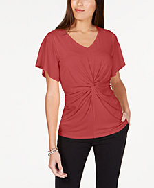 Alfani Petite Twist-Front Top, Created for Macy's