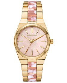 Michael Kors Women's Channing Gold-Tone Stainless Steel & Pink Acetate Bracelet Watch 36mm