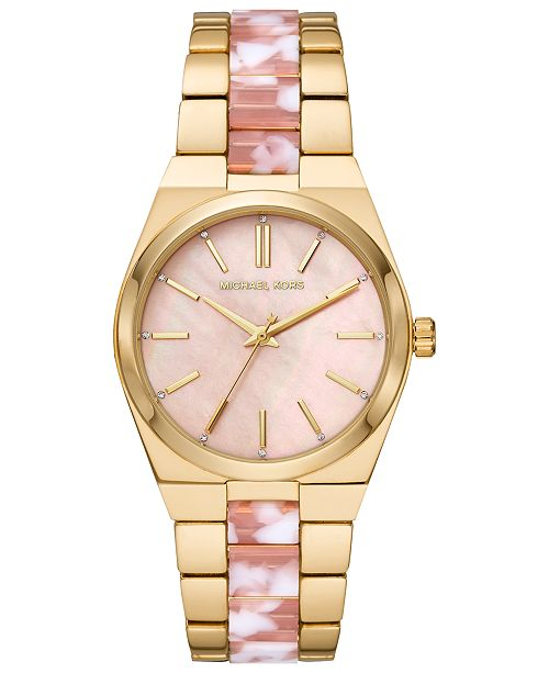 653253916612 ... Michael Kors Women s Channing Gold-Tone Stainless Steel   Pink Acetate  Bracelet Watch ...
