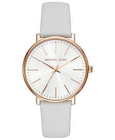 Michael Kors Women's Pyper White Leather Strap Watch 38mm