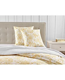 Watercolor Leaf Cotton 300-Thread Count European Sham, Created for Macy's